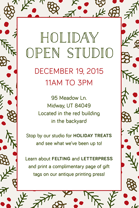 Holiday Open Studio 2015